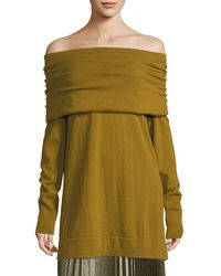 Lafayette 148 New York - Cosy Wool Flannel Off-the-shoulder Jumper - Lyst
