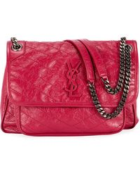 Saint Laurent - Niki Medium Monogram Ysl Shiny Waxy Quilted Shoulder Bag -  Lyst dd6aba5a957e0
