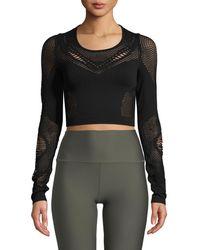 Alo Yoga - Siren Long-sleeve Mesh Performance Crop Top - Lyst