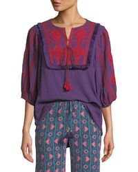 Figue - Sia Embroidered Cotton Gauze Top - Lyst