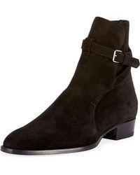 Saint Laurent - Wyatt 30 Suede Ankle Boot - Lyst