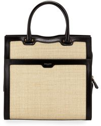 e6a19d5d350 Saint Laurent - Uptown Medium Monogram Ysl Leather/raffia Satchel Bag - Lyst