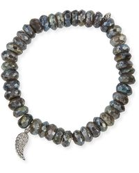 Sydney Evan - 8mm Faceted Round Labradorite Beaded Bracelet With Diamond Wing Charm - Lyst