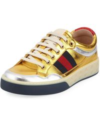 Gucci - Metallic Leather Trainer - Lyst
