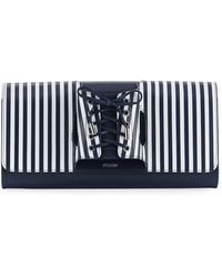 PERRIN Paris | Le Corset Striped Leather Clutch Bag | Lyst