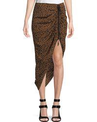 Diane von Furstenberg - Ruched Leopard-print Silk Pencil Skirt - Lyst