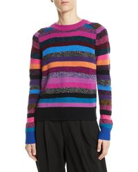 Marc Jacobs - Crewneck Long-sleeve Multicolor Striped Cashmere Sweater - Lyst