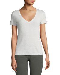 ATM - Cashmere V-neck Short-sleeve Jumper Top - Lyst