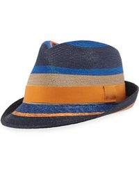 Etro - Men s Striped Straw Fedora Hat - Lyst 9da378584b9b
