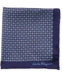 Ferragamo | Solid-border Gancini Silk Pocket Square | Lyst