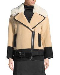 Club Monaco - Rismah Zip-front Wool Coat With Faux-fur Collar - Lyst