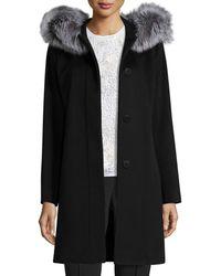 Fleurette - Hooded Wool Fur-trim Coat - Lyst