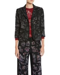Libertine - Chinoiserie Crystal One-button 3/4-sleeve Wool Blazer - Lyst