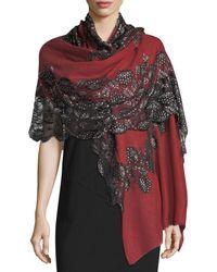 Bindya - Pumice Lace-overlay Evening Stole/wrap - Lyst
