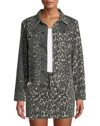 Mother - The Cut Drifter Distressed Leopard-print Denim Jacket - Lyst