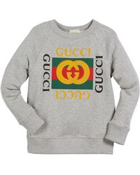 bb65c7ce4 Gucci Logo Hooded Sweatshirt With Planet in Blue - Lyst