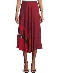 MILLY - Combo Pleated Stretch-silk Skirt - Lyst