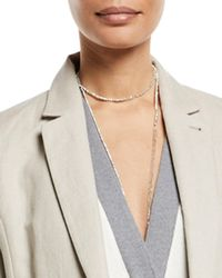 Brunello Cucinelli | Silver Variegated Single Strand Lariat Necklace | Lyst