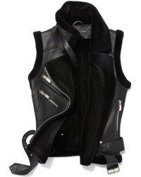 Belle Fare - Leather Moto Vest W/ Fur Lining - Lyst