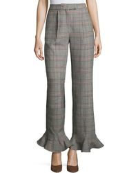 Rosie Assoulin - Cropped Ruffle-hem Plaid Pants - Lyst