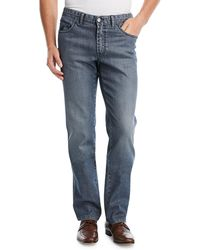 Brioni - Dark-wash Stretch-denim Jeans - Lyst