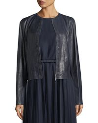 Lafayette 148 New York - Clyde Braid-detail Leather Jacket - Lyst