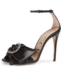 1ebdc9e2748f Gucci - Ilse Pleated Leather Bow Sandals - Lyst