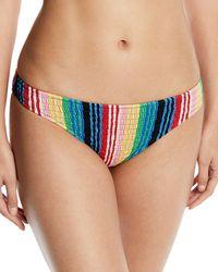 Diane von Furstenberg - Striped Smocked Cheeky Bikini Bottom - Lyst