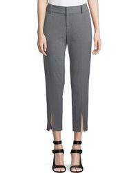 Alice + Olivia - Stacey Front Slit Ankle Crepe Pants - Lyst