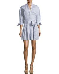 10 Crosby Derek Lam - 3/4-sleeves Belted Textured Cotton Shirtdress - Lyst