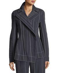 Cedric Charlier Stripe Asymmetric Blazer Jacket