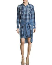 Current/elliott Woman The Twist Tie-front Denim Shirt Dress Mid Denim Size 0 Current Elliott yhXuCZ