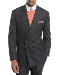 Brunello Cucinelli - Peak-lapel Double-breasted Wool Suit - Lyst