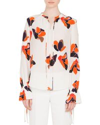 42aa94276fe07f Lyst - Paul Smith Women s Black Shirt With  anemone Floral  Print in ...