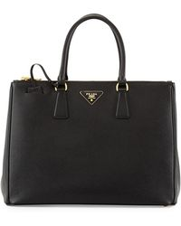 96cfc787b22c Prada Saffiano Baby Executive Tote Bag With Strap in Black - Lyst