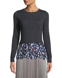 Club Monaco - Azamik Layered Wool Long-sleeve Sweater - Lyst
