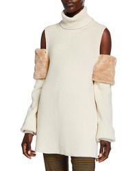 ADEAM Cold Shoulder Turtleneck Jumper With Faux Fur Trim - White