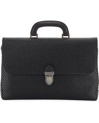 Ermenegildo Zegna - Men's Pelle Tessuta Flat Briefcase Business Bag - Lyst