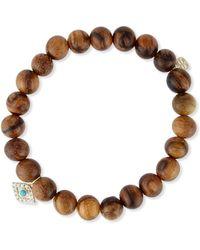 Sydney Evan - Wooden Bead Bracelet W/ 14k Gold Diamond Evil Eye Charm - Lyst
