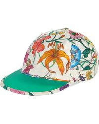 97901ab9f28e1 Gucci - Men s Flora-print Silk Baseball Hat - Lyst
