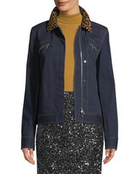 Lafayette 148 New York - Kesha Denim Jacket W/ Leopard Collar - Lyst