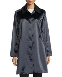 Jane Post - Button-front Long-sleeve Satin Overcoat - Lyst