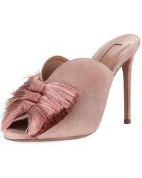 Aquazzura - Lotus Blossom Tassel-trim Mule Sandal - Lyst