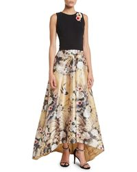 778ef2cc634 THEIA - Japanese Parchment Print Sleeveless Gown With Flowers - Lyst