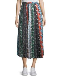 Carven - Mixed-print A-line Silk Skirt - Lyst