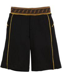 Fendi Contrast-piping Shorts W/ Ff Waistband - Black