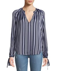 AG Jeans - Karina Striped V-neck Long-sleeve Top - Lyst