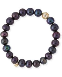 Sydney Evan - Black Peacock Pearl Beaded Bracelet With Diamond Ball Spacer - Lyst