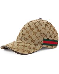 6757a8292e0 Lyst - Gucci Gg Pattern Baseball Hat with Web Detail in Natural for Men