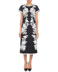 Andrew Gn - Round-neck Cap-sleeve Metallic-pinstripe Dress With Lace Applique - Lyst